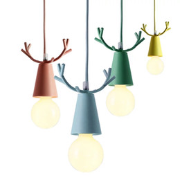 antlers light UK - Modern Deer Pendant Lights Christmas Antlers Hanging Lamps Macaron Childrens Room Bedroom Home Light Fixtures Decoration