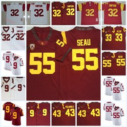 usc football Australia - Mens USC Trojans #32 O.J Simpson Football Jersey Stitched #55 Junior Seau 33 Marcus Allen 9 JuJu Smith-Schuster 43 Troy Polamalu USC Jersey