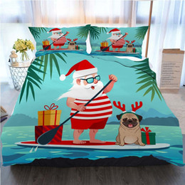 Wholesale stand up paddling online – design Santa Claus Bedding Piece Duvet Cover Sets Cute Santa Claus On Stand Up Paddle Board Home Luxury Soft Duvet Comforter Cover Twin