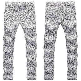 Wholesale hip hop male jeans resale online – designer Men Hip Hop Printed Jeans Autumn Slim Fit Jeans Pants Male Fashion Party Club Slim Fit Trousers
