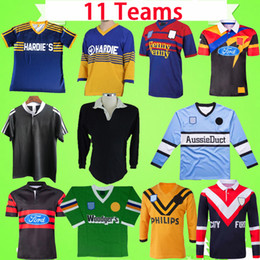 tiburones tigre al por mayor-Rugby League Jerseys Retro Parramatta Manly Eel Knight Jefe Cruzadas Negro Shark Raiders West Tiger Rooster Vintage SHIRTS CLÁSICO
