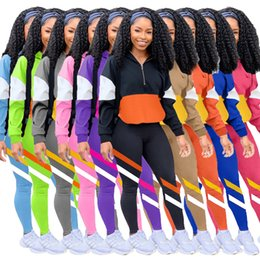 Wholesale hot leisure suit for sale – designer hot Women Tracksuits Two Pieces Set Multi Color Splicing Leisure Sports Suits Ladies New Fashion Stitching Casual Outfits Sportwear
