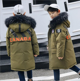 Wholesale boys school coats for sale – custom Children boy winter jacket real fur hooded long coat parka kids big school teens boy Russia winter clothing overcoat