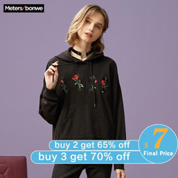 Wholesale floral hoodies for women resale online - Metersbonwe Hoodies For Women Female Floral Printed Female Casual Sweatshirt New women s Sweet Hoodies Rose Hoodies