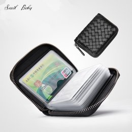Zipper male leather multi small wallet package bag name card clip sheepskin woven female sleeve