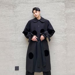 polka dot trench Canada - New Male Windbreaker Jacket Overcoat Men Polka Dot Japan Streetwear Fashion Casual Long Loose Trench Coat Outerwear1