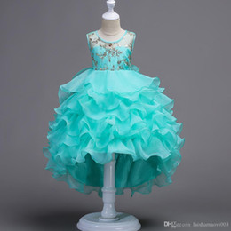 blue prom dresses for kids UK - Flower Girl Wedding White Dresses for Girls Prom Party Gown Designs Children's Clothing Tulle Costume for Kids Clothes