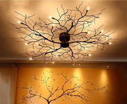 industrial home decor NZ - 8 10 12 15 20 LED Ceiling Lights American Country Branch Lustre Iron Ceiling Lamp Living Room Home Decor Lighting Fixtures
