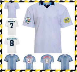 venda por atacado 1996 Shearer Retro Soccer Jersey Gascoigne Shearer McManaman Southgate Clássico Vintage Sheringham 96 98 Home Away Beckham Football Shirt