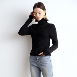 Wholesale shirt sleeve pins online – design RuFH1 Seamless molding Warm lazy warm slim and autumn pin woolwool winter high collar superfine knitted wool base shirt Women s merce