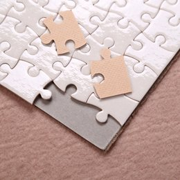 Wholesale Sublimation Puzzle A5 Size DIY Products Sublimations Blanks Puzzles White Jigsaw 80pcs Heat Printing Transfer Handmade Gift YFA2694