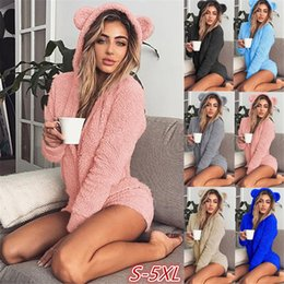 Wholesale jumpsuit black women resale online - Winter Sexy Women Home Wear Suit Casual Jumpsuits Lady Female Soft Warm Long Sleeve Exposed Navel Set Sleepwear Onesies Gowns FY9258