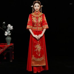 woman red flower embroidery dress 2021 - Red Qipao Women Bride Traditional Wedding Gown 2020 New Chinese flower Embroidery Dress tassel Cheongsam Style Chinois Femme1