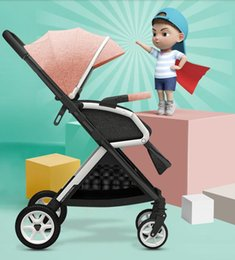portable umbrella strollers UK - Baby stroller can sit and lie down portable portable folding simple high landscape two-way baby umbrella car