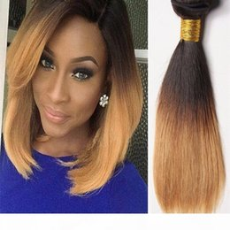 straight wavy hair weave NZ - Brown Blonde Human Hair Weaves 1B 4 27 Malaysian Peruvian Brazilain Straight Wavy Virgin Three Tone Ombre Hair Wefts Extension For Sale