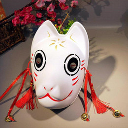 ingrosso maschera kitsune-Maschere giapponese dipinto a mano Friend Account Style Natsume Mask Cosplay Masquerade Ball Festival Kabuki Kitsune Cosplay Prop
