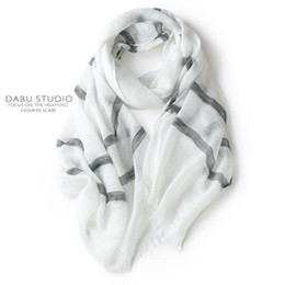 cotton summer scarves Canada - Gray white pure plain color cool wind flax cotton linen scarves for men and women in summer literary stripe scarves