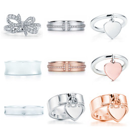 NEW Gift 925 Sterling Silver Classic T Logo Tiff Rings Heart Tiff Rings Rose Gold Silver Jewelry Match World Jewelry For Girl on Sale