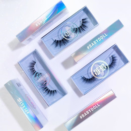 Wholesale 3D faux mink eyelash vendor with customized packaging baby blue boxes accept customer DLY own brand logo