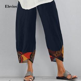 Wholesale women linen pants for sale – dress 2020 Women Cotton Linen Vintage Pants Summer Elastic Waist Irregular Trousers Pantalon Casual Dandelion Print Cropped Pants XL