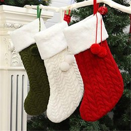 Wholesale sock wool for sale - Group buy Professional Christmas Knitted Wool Socks Holder With Plush Ball Tree Hanging Christmas Stocking Gifts Stockings Fashion Christmas GWE2492