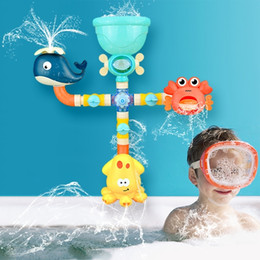 Wholesale Baby Bath Toy DIY Building Spray Water Sprinkler Toys Water Game Cartoon Cute Animal Bathroom Bathtub Summer Play for Kids 201226