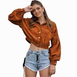 Wholesale corduroy jacket brown resale online - Fashion Corduroy Jacket Women Pure Turndown Collar Long Sleeve Short Coat Women Outwear Casual Basic Crop Coat Overcoats Brown