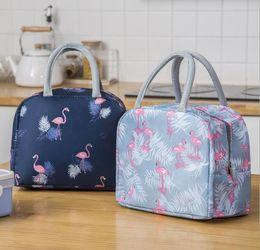 50 unids bolsa de almuerzo bolso de asas Oxford impermeable Flamingo Impresiones Organizador Aislamiento Caja de almacenamiento de alimentos de picnic frío en venta