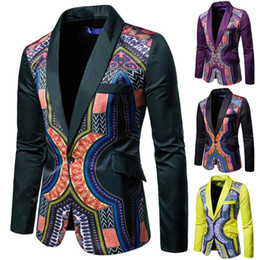 Discount dashiki jackets Blazer Dashiki Print 2020 News African Clothes Men Jacket One Botton Party Rich Bazin Retro Coat Full Sleeve Male Clothi