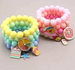 Toptan satış Çoklu Şeker Boncuk Çocuklar Şanslı Takı Bilezik Mutlu Çocuk Aşk Kalp Charms Bilezik Çocuklar Takı Hediye