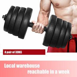 Set de poids d'haltère de 30kg avec 16 plaques d'haltère 2 barres d'extension 4 écrous ajustable Fitness Barbell Gym Equipment Outils d'entraînement en Solde
