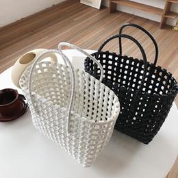Wholesale Designer- casual hollow out baskets bag designer pvc women handbags large capacity totes ladies summer beach purses travel