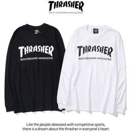 Wholesale t shirt thrasher online – design Fashion thrasher Fall Classic flame letter print loose men and women round neck Cotton Long Sleeve T Shirt