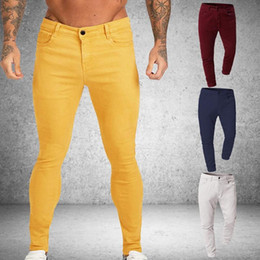 Wholesale red skinny jeans male for sale – denim Men Stretch Skinny Solid Jeans Color Casual Slim Fit Denim Trouser Male Yellow Red Gray Pants Male Slim Trousers