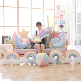 cot bedding sets pillow UK - Baby Bed Room Decor Colorful Cloud Rainbow Pillow Infant Cot Newborn Bedding Room Decor Accessory Bedding Set Decoration LJ201208