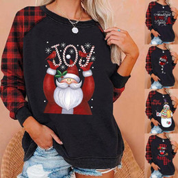 woman christmas blouses 2021 - Weihnachten Christmas Shirt Women O-neck Letter Printed Plaid Long Sleeve Shirt Blouse Autumn Tops Blusas Mujer De Moda 2020