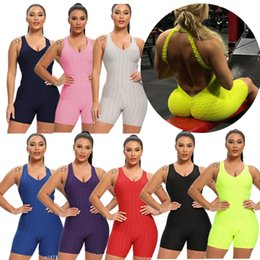 Wholesale necked girl yoga for sale – designer Solid Womens Sports Rompers Design Shorts Outfits Sleeveless Backless Sexy Fitness Workout Yoga Bodysuits Jumpsuit Stretch Sportswear F92804