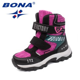 elastic hook loop Australia - BONA New Classics Style Children Boots Mesh Girls Snow Boots Hook & Loop Boys Outdoor Fashion Sneakers Shoes Fast Free Shipping 201113