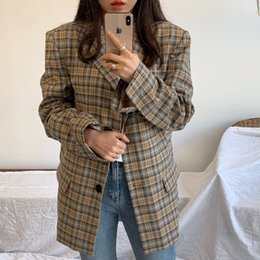 Wholesale slim suit jacket girl resale online – Plaid Blazer Women Spring autumn Vintage Suits Jackets Office Ladies Chic Slim Blazers Girls Tops Set Coat