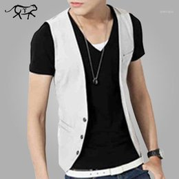Wholesale new clothing low price for sale - Group buy Low Price Men Vest New Style Fashion Slim Fit Men s Clothing v Neck Vest Thin Section Male Casual Waistcoat khaki black white1