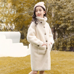 Wholesale kids mink coats resale online - Kids for Girl Autumn Winter Fashion Teen Girls Faux Mink Cashmere Coat Children Fake Fur Overcoat New Warm Jacket