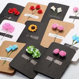 Wholesale thanksgiving papers online – design Hand Made Christmas Greeting Cards Simulation Flower DIY Vintage Kraft Paper Thank You Thanksgiving Christmas Flower Greeting Card EWF1224