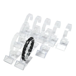 Discount clear acrylic watches Wholesale 15Pcs Acrylic Bracelet Display Rack Clear Rotating Watch Bangle Chain Organizer Storage Display Collar Holder Stand 2Ndb3