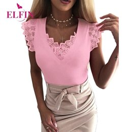 femme shirt UK - Summer Tee Shirt Femme V-neck Women Tshirt Solid Sleevless Elegant Bandage Lace Patchwork Women Clothing SJ2257R Y200412