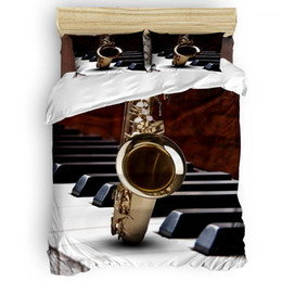 musical bedding sets UK - Musical Instrument Modern Saxophone Quilt Cover Bedding St. Valentine's Day Quilted Duvet Set Machine Washable Polyester Fabric1