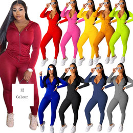 Wholesale women sweat suit sets resale online – Women Casual solid color Two Piece Set Tracksuit Festival Clothing Fall Winter Top Pant Sweat Suits Neon Piece Outfits Matching Sets