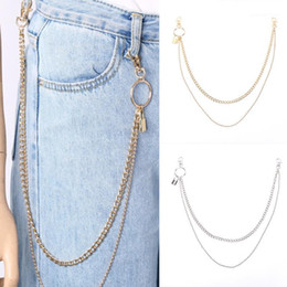 punk rock wallets NZ - 2020 Punk Double Layer Pants Chain For Hipster Rock Waist Hanging Long Wallet Jean Keychain Ring Clip Keyring HipHop Jewelry1