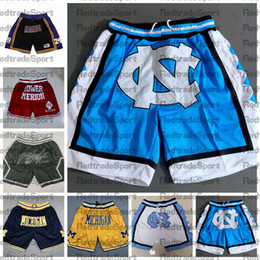 venda por atacado NCAA North Carolina Tar Heels Basquetebol Shorts Apenas Mens Don Michigan Wolverines Black Mamba Merion Miss High School Calças de bolso