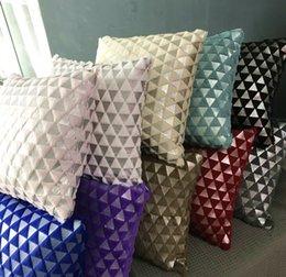 Plush cushion imitation rabbit hair solid color triangle pattern gilt cover European style pillow Case 43*43cm