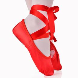 USHINE children kids beginner practicing dance shoes soft sole satin ballet for girls slipper dance ballerina shoes 201017 on Sale